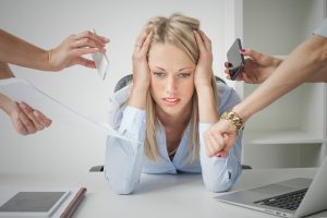 business woman stressed out by work